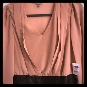 Black and Tan Cropped Blouse